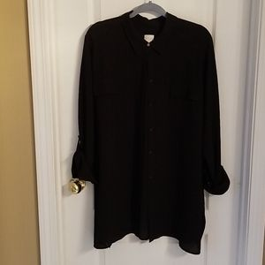 Chico's Long-Sleeved Black Blouse